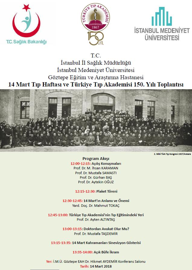 14 Mart Tip Haftasi Ve Turkiye Tip Akademisi 150 Yili